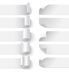 Set of curled blank paper banners with shadows on vector image
