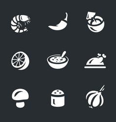 set of tom yam soup icons vector image