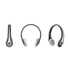 set realistic headphones flat vector image