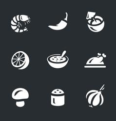 Set tom yam soup icons vector
