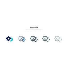 Settings icon in different style two colored and vector
