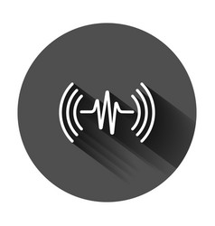 Sound wave icon in flat style heart beat on black vector