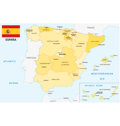 spain administrative and political map with flag vector image