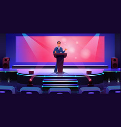 speaker on modern stage in conference hall screen vector image