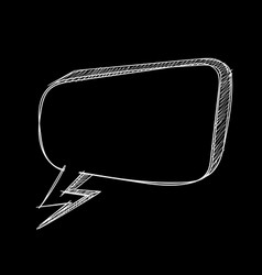 speech bubble hand drawn sketch on black vector image