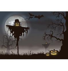 Spooky halloween scarecrow vector