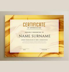 Stylish golden marble texture certificate design vector