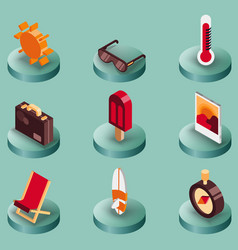 summer color isometric icons vector image