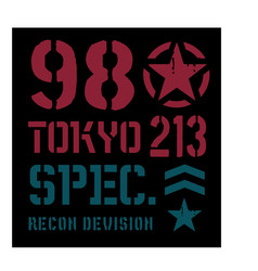 Tokyo military plate design vector