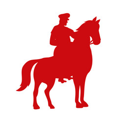Turkish military on horse silhouette vector