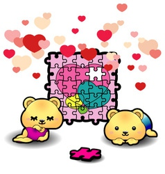 two bears piecing heart puzzle vector image