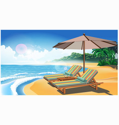two deck chairs and an umbrella on the beach vector image
