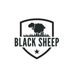 vintage black sheep logo design inspiration vector image