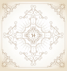 Vintage ornament greeting card vector