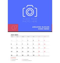 Wall calendar planner template for july 2021 week vector