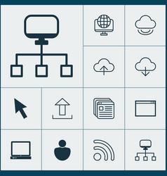 web icons set with application window desktop vector image