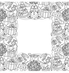 wedding objects seamless frame vector image