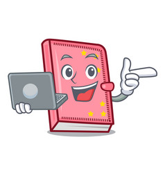 with laptop diary character cartoon style vector image