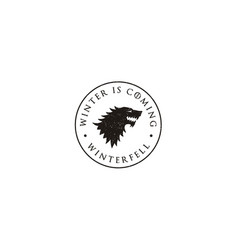 Wolf flag game thrones winter is coming logo vector