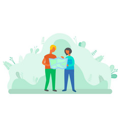woman and man using map to find location get lost vector image