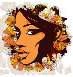 Woman face decorated with flowers on the vector