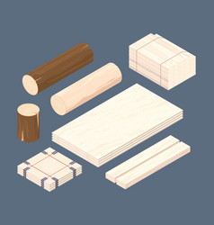 wooden isometric set stacked lumber branches vector image