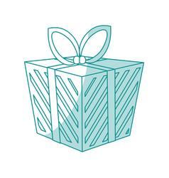 blue shading silhouette cartoon christmas giftbox vector image