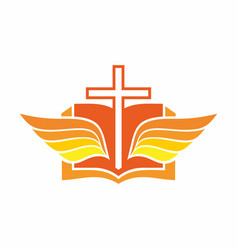 Cross bible and wings vector