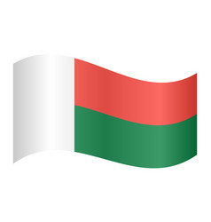 flag of madagascar waving on white background vector image vector image
