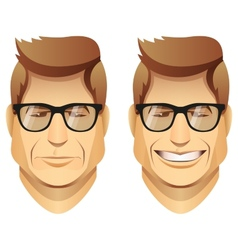 male faces with glasses vector image vector image