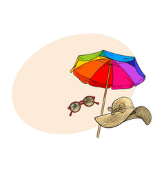 straw hat with wide flaps round sunglasses and vector image