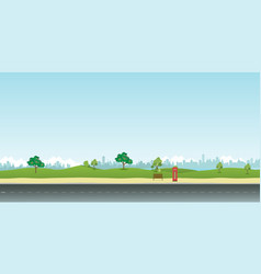 street in public park with nature landscape vector image vector image