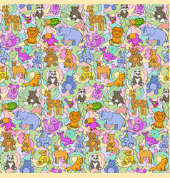 animal toys seamless pattern vector image