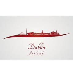 Dublin skyline in red vector image vector image