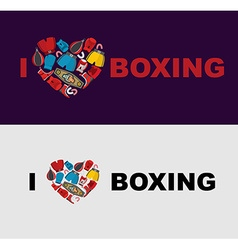 I love boxing Symbol of the heart of boxing gear vector image vector image