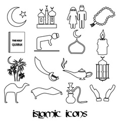 islamic religion simple outline black icons set vector image