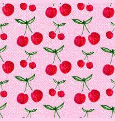 seamless pattern with watercolor cherry endless vector image vector image