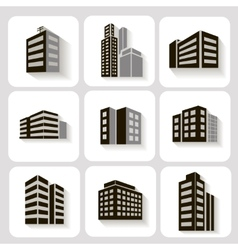 Set of dimensional buildings icons in grey and vector image