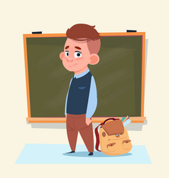 small school boy standing over class board vector image vector image