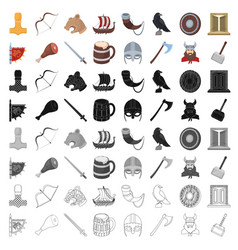 vikings set icons in cartoon style big collection vector image vector image