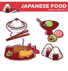japanese food collection with main courses vector image vector image
