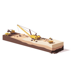low poly excavators and haul truck vector image vector image