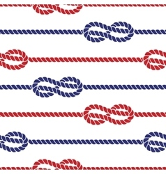 Nautical ropes with knots seamless pattern vector