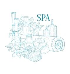 Spa Center Symbols Hand Drawn Realistic Sketch vector image