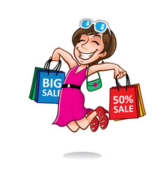 cartoon happy shopper girl vector image