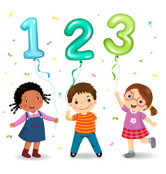 cartoon kids holding number 123 shaped balloons vector image vector image