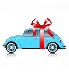 compact blue car with ribbon vector image vector image