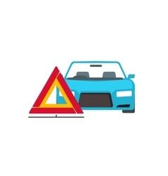 Emergency sign near broken car vector image