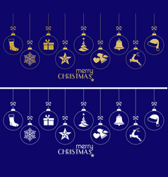 hanging christmas baubles christmas ornaments on vector image vector image