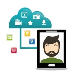 smartphone man cloud connect social media vector image